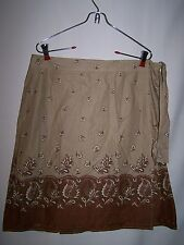 Womens OLD NAVY Brown Tan Cream Floral Pattern Skirt Size 10