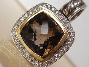 $1575 DAVID YURMAN 18K,SS ALBION SMOKY QUARTZ DIAMOND ENHANCER.