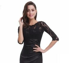 Luxury 3/4 Sleeve Lace Formal Evening Gown Long Bridesmaid Dress UK 10 Black New