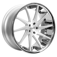 "(4) 22"" Staggered Azad Wheels AZ23 Silver Machined with Chrome Lip Rims(B31)"