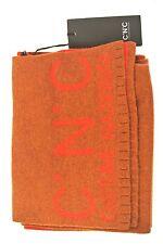 Costume National, C.N.C.Sciarpa lana colore ruggine con logo rosso, retro rosso
