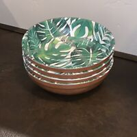 Tommy Bahama Tropical Green Palm Faux Wood MELAMINE Cereal Bowls Set of 4 NWT
