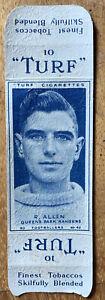 Uncut Reg Allen Manchester United FC 1948 Turf Football Cigarette Card QPR