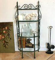 Vtg Wrought Iron Bakers Rack French Garden Plant Bath Tabletop Shelves Antique