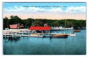 LAKE GENEVA, WI Wisconsin ~ FONTANA PIER Scene c1940s Linen  Postcard
