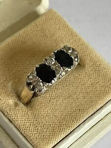 Vintage 9 ct gold & sterling silver sapphire & clear stone dress ring size p