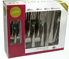 Mozaik by Sabert 200 Piece Strong Luxury Silver Plastic Disposable Cutlery Pack