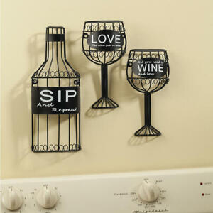 "Wine Bottle & Glasses Metal Wall ""Set of 3"" Black Art Decor"
