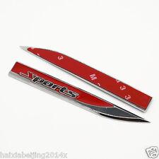 2 pcs Red Car Metal Dagger Fender Emblem 3M Sticker Badge Decal Racing Sports