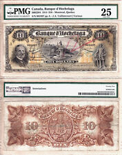 Very Rare 1914 $10 Banque D'Hochelaga, PMG VF25. Today's National Bank