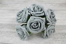 24 Bunches Colourfast Flowers Foam Roses Bouquet Wedding Artificial 5.5cm Grey