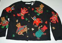 Michael Simon S Ugly Sweater Vintage Christmas Bears Bells Cute Black