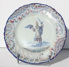 ASSIETTE ANCIENNE EN FAIENCE - LUNEVILLE - KELLER & GUERIN - D. 25 cm