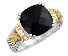 PHILIP ANDRE 18k Gold & Sterling Silver Diamond and Black Onyx ring size 7