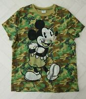 DISNEY Camo Print Faded Distressed Mickey Mouse T-Shirt Size L Womens Kids