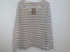New Mountain Warehouse Ladies Cream and Navy Striped cotton top-St Ives Crew 18