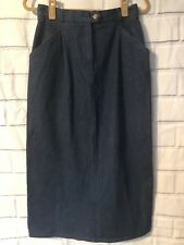 Charter Club Jean Skirt Sz 10 Blue Denim Pockets Modest Church Long Belt Loops