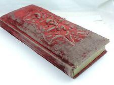 Antique Victorian Photo Album Book Red Velvet Embossed,Metal Hardware