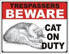 Cat on Duty    Vintage Style Metal Signs Man Cave Garage Decor 69