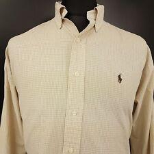 Ralph Lauren Mens Vintage Shirt XL Long Sleeve Beige Check 2 Ply Cotton BLAKE