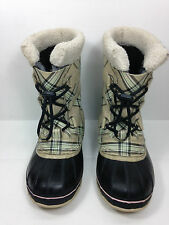 Sorel Youth girls Yoot Pac oatmeal plaid winter boots NY1443-242 Size 6 US.