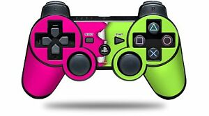 Skin for PS3 Controller Ripped Colors Hot Pink Neon Green CONTROLLER NOT INC