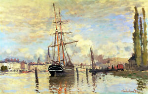 """CLAUDE MONET """"Seine At Rouen"""" ship CANVAS OR PAPER choose SIZE, from 55cm up"""