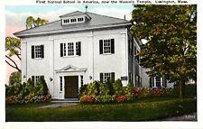 Lexington, MA - 1st Normal School in America, Now Masonic Temple Postcard