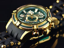 "New Invicta Men 50mm "" Bolt Spider "" Triple Cable Bezel Chrono 18K Gold IP Watch"