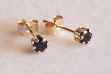 New Ladies Boxed 9ct 9 carat Yellow Gold Sapphire Studs Earrings 3mm Hallmarked