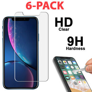 6 PK Tempered Glass Screen Protector for iPhone 11 PRO XR X XS Max SE 6 7 8 Plus