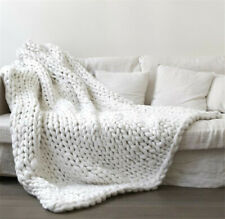Wool Knitted Thick Throw Yarn Chunky Bulky Knit Throw Sofa Bed Blanket Carpet