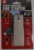 "NEW 3"" Magnesium Block Flint Fire Starter And Mini Compass Emergency Survival SE"