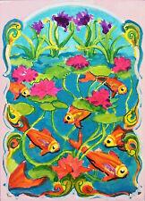 "ACEO-ORIGINAL painting G. Liedtke - Fantasy -""Art Deco Koi"" fish water pond"