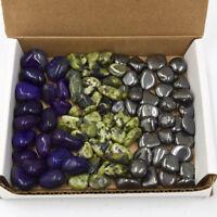 1 lb Tumbled Stone Collection Purple Agate Nephrite Jade Hematite