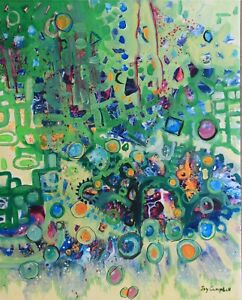 Intuitive abstract painting  green contemporary by artist Joy Campbell