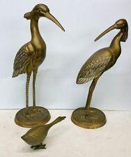Vintage Chinese Brass Crane Bird Statues Set of 3