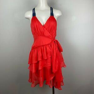NWT Double Zero Dress Salsa Ruffle Coral Wrap Strappy Flirty Size Small