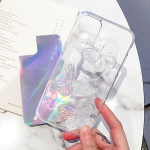 Phone Case For iPhone 13 12 11 Pro Max XR XS 8 7 Bling Buterfly Epoxy Soft Cover