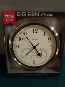 "Westclox Big Ben 12"" Indoor/Outdoor Clock - W/ Temp & Humidity Gages"