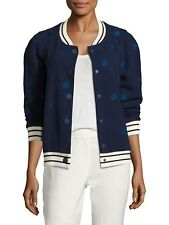 NWT Laveer Dots navy blue white Cotton snap front Bomber Jacket raglan M 8 $540