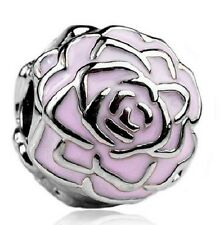PINK ROSE FLOWER CLIP STOPPER CHARM BEAD. SILVER PLATED