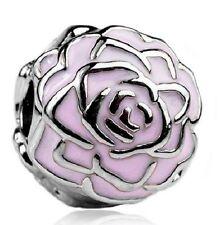 Rosa Rosa Flor Tapón Clip Encanto Grano. Plata Plateado