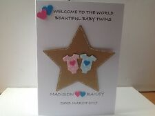 Handmade new baby twins card - girl & boy personalised with names and D.O.B