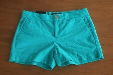 Banana Republic NWT Women's Size 2 Hampton Fit Teal Green Embossed Cotton Shorts