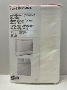 Ikea KUNGSBLOMMA Full/Queen Duvet cover and pillowcases white/red - NEW