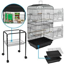 59'' Rolling Bird Cage Powder Coated Budgie Conure Lovebird Pet W/Stand&Wheels