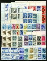 Canada #303-#388 1951-1959 Assorted MNH Blocks of 4-10 Eight Plate # Blocks or 4
