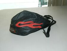 Harley Davidson Black Leather Skull Cap Harley Davidson Logo w/Flames ~ One Size