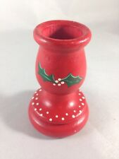 """Christmas Candle Holder Hand Painted Christmas Holly Design 3"""" Holder"""